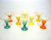 Vintage Blendo Frosted Ombre Margarita Glasses Set of Eight