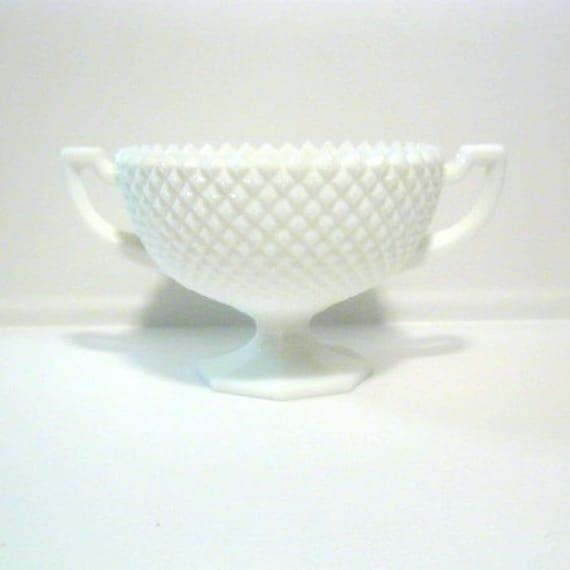 Vintage Westmoreland English Hobnail Milk Glass Handled Bowl