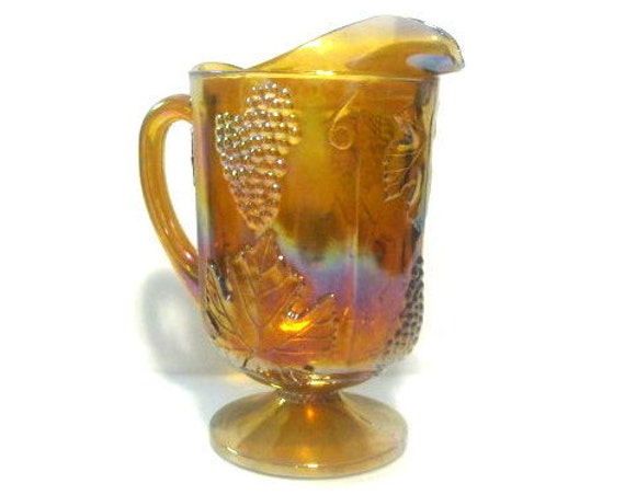 Vintage Carnival Glass Amber Pitcher By Indiana Glass