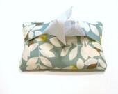 101  Pocket Tissue Holder Cozy     Aqua Yellow Leaf Motif