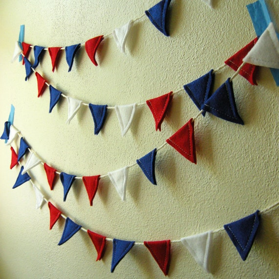 Felt Decorative Flag Banner in Red, White and Blue
