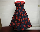 Retro 5o's Rockabilly Style Strapless Dark Navy and Red Dress Size 16