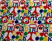 unknown language soft canvas weight vintage primary color fabric - 48 wide one yard