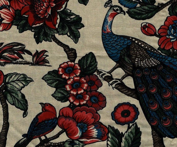 Peacocks and birds on flowering tree branches RJR High quality fabric piece 1.5 yards