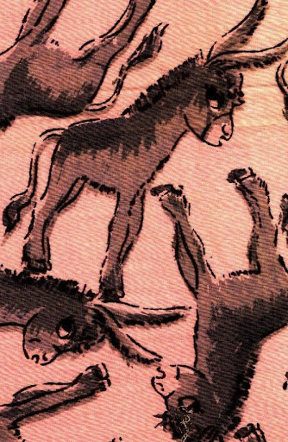 vintage children's cotton fabric - 1930s large print donkeys on pink cotton - 3 yards
