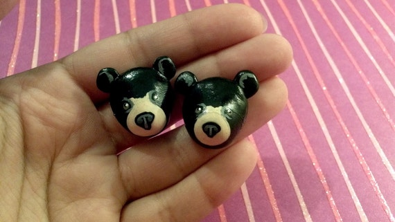 Black Bear Post Earrings