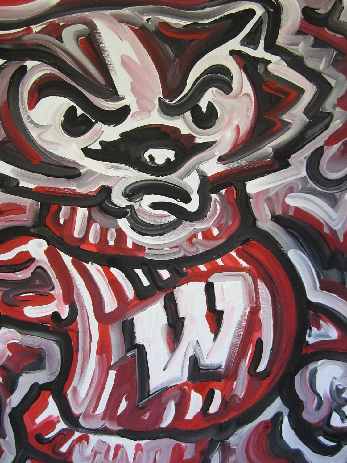 wisconsin badgers painting by justin patten sports art on hold