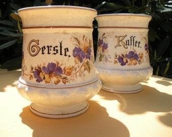 Antique German Canisters, Pair, Floral, European