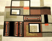 For VEE ONLY -- Vintage MidCentury Barkcloth -- Apricot, Taupe, Milk Chocolate, Black and Gold on Vanilla Cream -- NEW, Old Stock