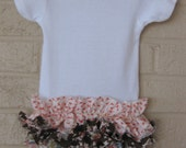 Shabby Chic Ruffle Bottom Onesie for baby - Limited Edition Fabric, Pick your fabric