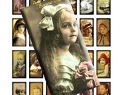 Vintage Victorian Photos Little Girl Portrait Digital Collage Sheet 1x2 inch Domino Images