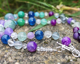 Fluorite Ocean Dreams Healing Gemstone Necklace.