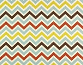 Home Dec Fabric Yardage - Chevron Stripe -French Blue, Brown, Chartreuse - 1 yard