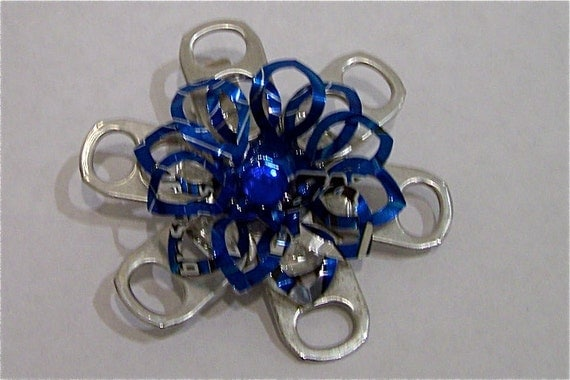 Blue and Silver Flower Hair Clip   recycled aluminum soda can FREE Shipping