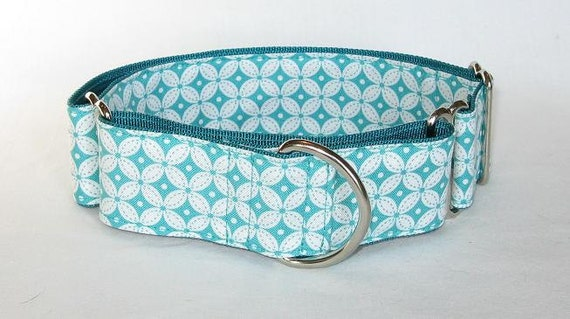 LAST ONE - Teal Diamonds Martingale Collar (1.5 inch) white turquoise geometric pattern