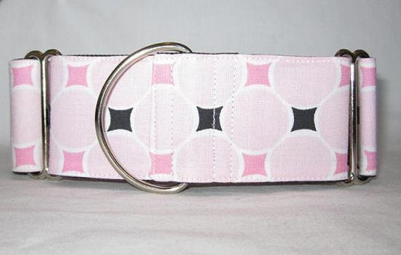 SALE LAST ONE - Pink Circles Martingale Dog Collar (2 Inch) dots