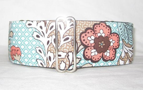 SALE SMALL ONLY Scalloped Abstract Martingale Dog Collar - 2 Inch - cream salmon teal tan paisley flowers