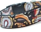 Custom Retro Dog Collar - Retro Funk - Funky Dog Collar with Orange paisleys Blue Swirls and Wild Pattern
