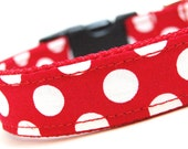 Custom Red Polka Dot Dog Collar - Let's Live in the 50s - Bright Red with white polka dots retro collar