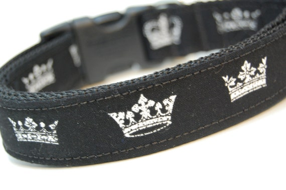 Custom Dog Collar - All Hail the King - Black Dog Collar with White Crowns