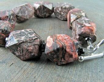 Chunky leopard jasper bracelet pink black red gray statement nuggets