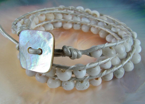Leather wrap limited edition triple wrap wedding bride puka shell white leather