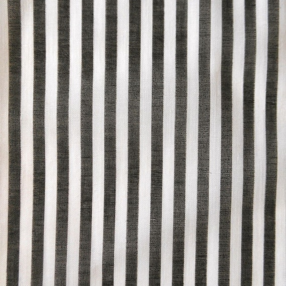 Vintage Black And White Striped Cotton Fabric 3 Yards
