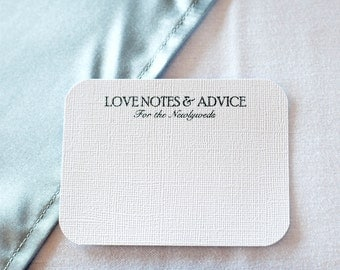 25 Wedding Advice Cards / Love Notes / Comment Cards -Classic; bride and groom newlyweds words of wisdom well wishes guestbook bridal shower