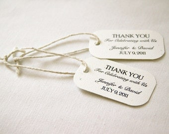 50 Mini Wedding Favor Gift Tags - Classic; Thank You Celebrating with Us Customized name hang tag packaging bridal shower bridesmaid gift
