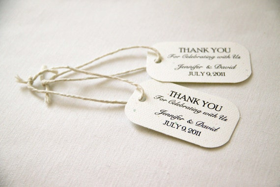 50 Mini Wedding Favor Gift Tags Classic Thank You