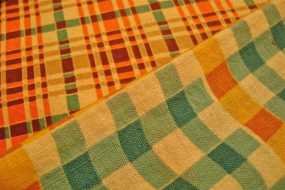 Vintage Feedsack Plaid Fabric
