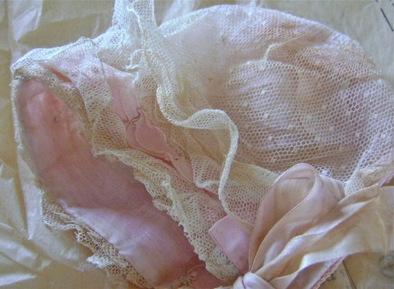 Anitque Bonnet Pink Silk and Lace