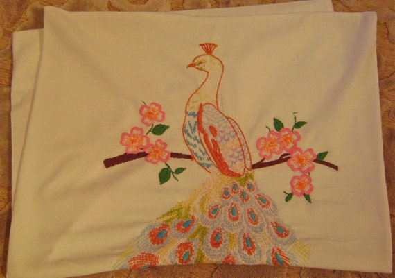 Large Embroidered Pastel Peacock Pillowcase