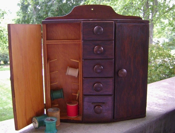 Vintage Antique Wooden Sewing Cupboard