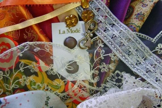 Vintage Silk Lace Fabric Trim Embellishment Lot Autumn Assortment