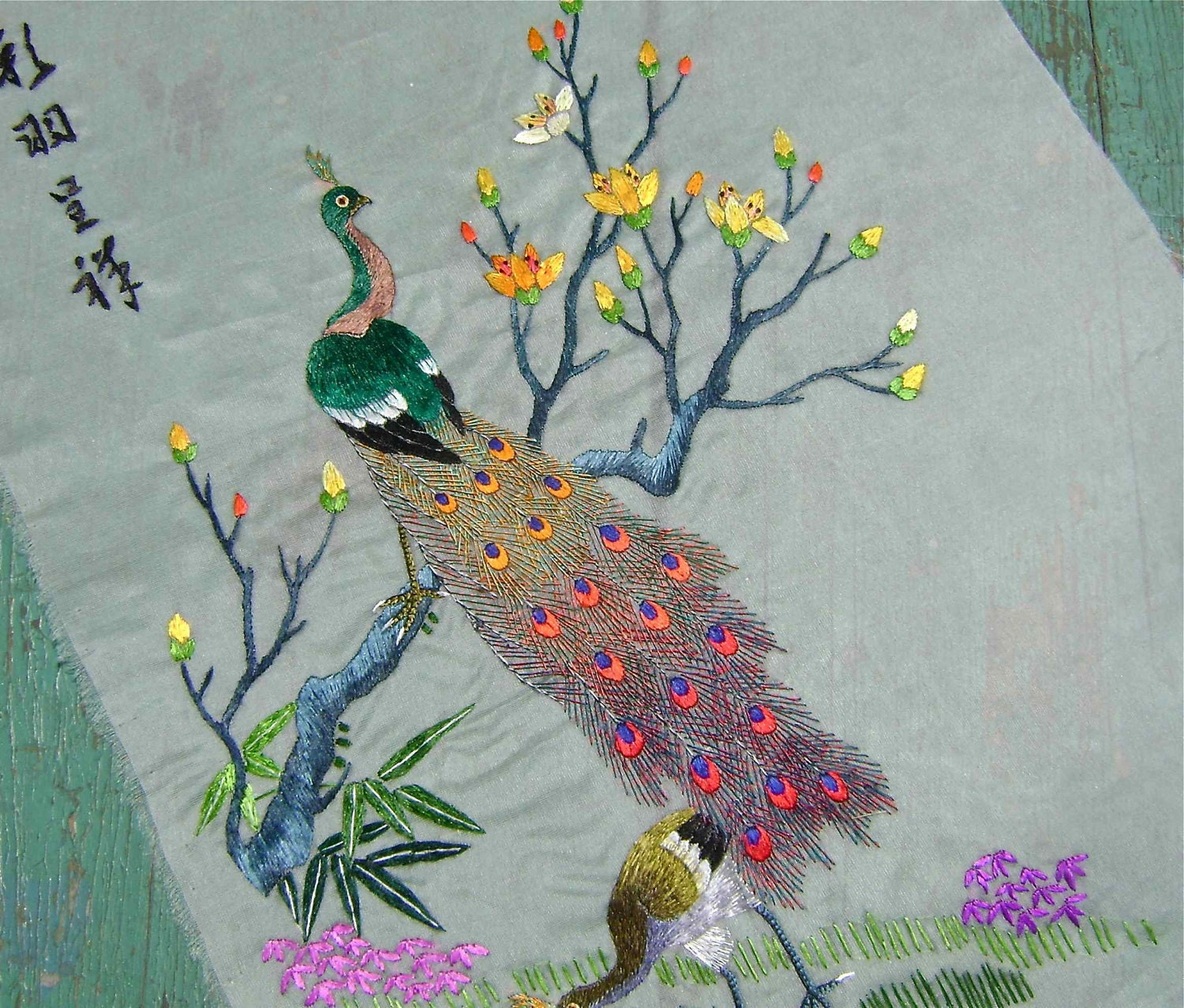 Peacock Silk On Silk Embroidery By Perfectmomentpillows On