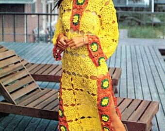 Vintage Crochet Pattern Flower Granny Squares Caftan Bell Sleeve Maxi Dress Peek A Boo Tunic Digital Download PDF