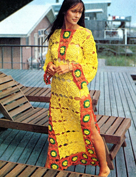 Vintage Crochet Pattern Flower Granny Squares Caftan Bell Sleeve Maxi Dress Peek A Boo Tunic Digital Download PDF