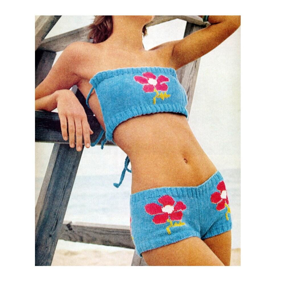 Knit Bikini Pattern : Vintage Knitting Pattern Mod Hip Hugger Bikini by 2ndlookvintage