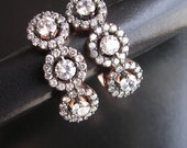 FREE SHIPPING Elefteria  EARRING rose gold antique mid century diamond vintage inspired sterling