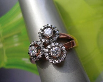 antique  inspired ring sterling cz zirconia rose gold sparkly velvet gift box