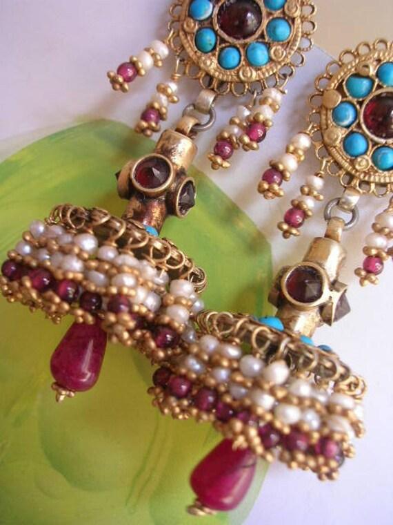 ROXELANA EARRING sterling pearl turquoise garnet  tassel hand crafted