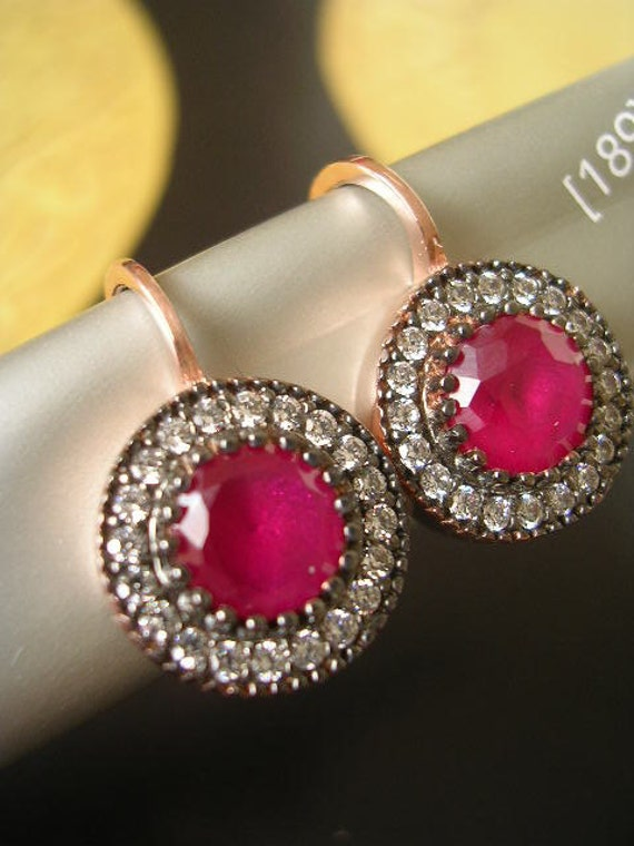 Edwardian inspired Earring  red clear zirconia diamond vintage antique look feel timeless classic jewel