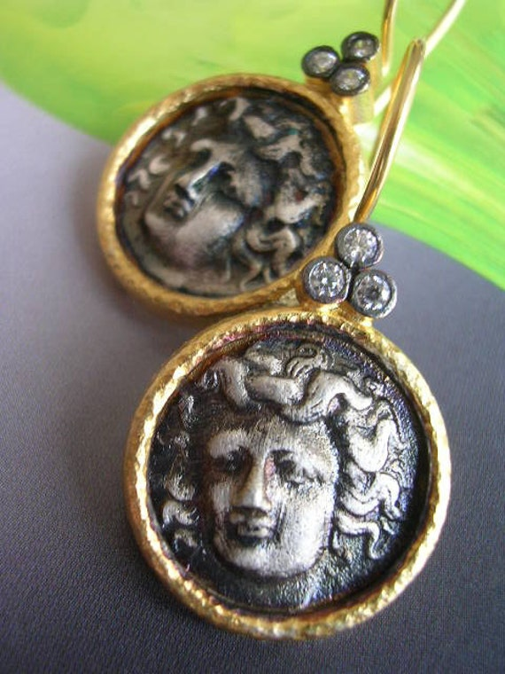 EROS  EARRING antique ancient inspired gold coin sterling