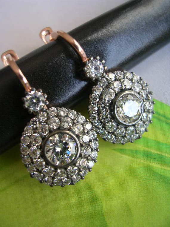 FREE SHIPPING  antique diamond inspired earring  sparkly zirconia rose gold