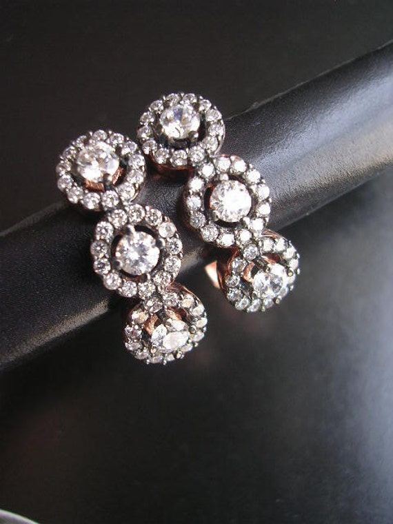 ELEFTERIA  EARRING rose gold antique mid century diamond vintage inspired sterling