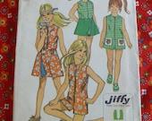 Simplicity Pattern 9440 Girls Jiffy Pantdress & Reversible Front-Wrap Skirt Size 7 Breast 26 Waist 23 Vintage 1970s Cut/Complete
