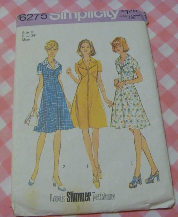 UNCUT Vintage 1974 Simplicity Pattern..6275..Misses Dress Pattern..Size 12 Bust 34