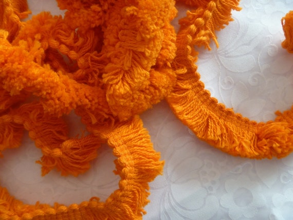 Vintage Orange Yarn Fringe Sewing Trim..1 Yard and 30 Inches