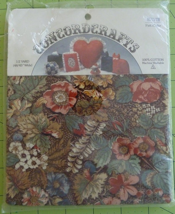 Vintage Cotton Fabric..1/2 Yard of Brown Floral Calico by Concord Crafts..Still in Original Package